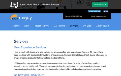 Screenshot of Services Page uxguy.com - User Experience Design Consultancy, Mobile Design, Flat Design | UX Guy | User Experience Consultant Dublin, Ireland - captured Nov. 18, 2016