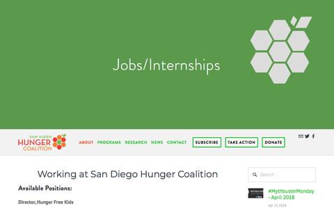 Screenshot of Jobs Page sandiegohungercoalition.org - Jobs/Internships — San Diego Hunger Coalition - captured July 27, 2018