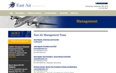 Screenshot of Team Page eastair.com - Management - East Air Corporation :: East Air - captured Sept. 26, 2018
