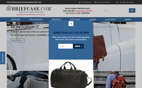 Screenshot of Home Page briefcase.com - Briefcase.com: Leather Briefcase Monogrammed Personalized Briefcases & Bags - captured Nov. 8, 2018