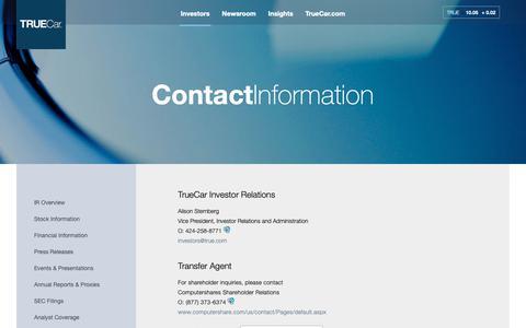 Screenshot of Contact Page true.com - ContactInformation | TrueCar, Inc. - captured Nov. 9, 2018