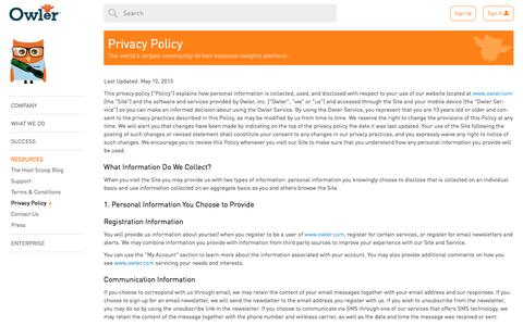 Owler: Privacy Policy
