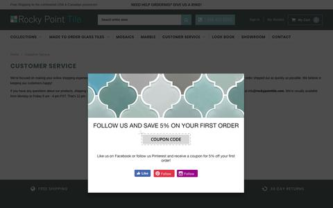 Screenshot of Support Page rockypointtile.com - Customer Service                      – Rocky Point Tile - Glass and Mosaic Tile Store - captured Oct. 20, 2018
