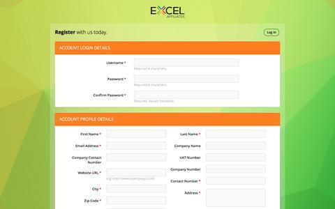 Screenshot of Signup Page excelaffiliates.com - Affiliate Signup - Excel Affiliates - captured July 22, 2018