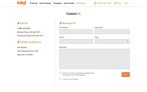 Screenshot of Contact Page inkdapparel.com - Contact Inkd | Custom Apparel - captured Jan. 23, 2016