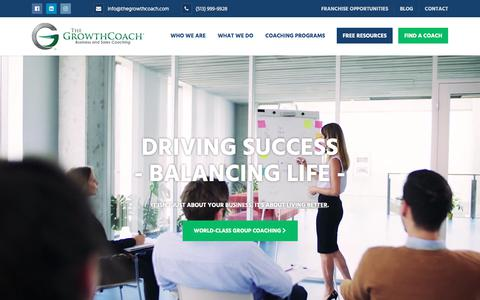 Screenshot of Home Page thegrowthcoach.com - The Growth Coach | Better Business - Better Results - Better Life - captured July 23, 2019