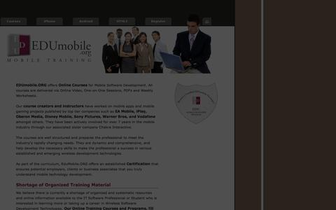 Screenshot of Home Page edumobile.org - EDUmobile.ORG - Learn to Program in iPhone, Android, J2ME, BREW, WindowsMobile, PalmOS and other Wireless Technologies. Easy online courses with  one-on-one tutoring. - captured Sept. 19, 2014