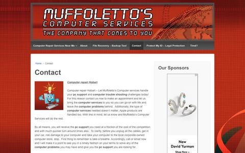 Screenshot of Contact Page muffolettocs.com - Computer repair Hobart - Muffoletto's Computer Services - captured Nov. 27, 2018