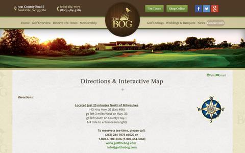 Screenshot of Maps & Directions Page golfthebog.com - Directions & Map - captured Feb. 15, 2016