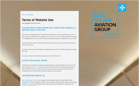 Screenshot of Terms Page bsag-mt.com - Blue Square Aviation Group - captured Oct. 5, 2014