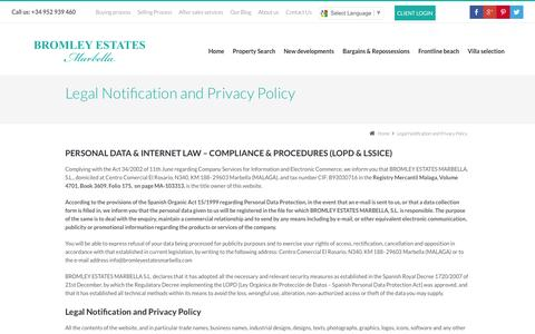 Screenshot of Privacy Page bromleyestatesmarbella.com - Legal Notification and Privacy Policy » Bromley Estates Marbella - captured Oct. 29, 2014