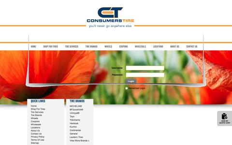 Screenshot of Login Page consumerstire.com - User Log In - captured July 21, 2018