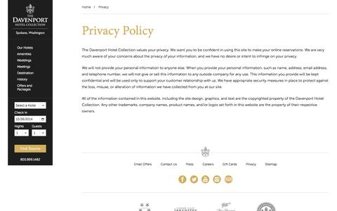 Screenshot of Privacy Page davenporthotelcollection.com - Privacy - Davenport Hotel Collection - Spokane Washington Hotels - captured Oct. 26, 2014