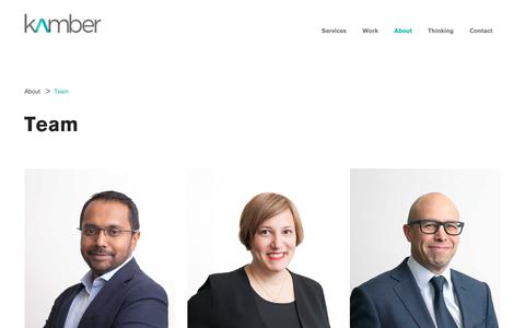 Screenshot of Team Page kamber.com.au - Team | About | Kamber - captured July 8, 2019