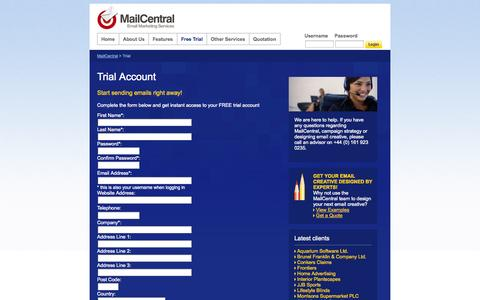 Screenshot of Trial Page mailcentral.co.uk - MailCentral | Email Marketing Services | Bulk Email Services | Mailing Software - captured Sept. 30, 2014