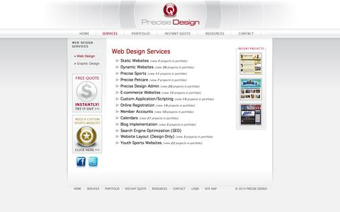 Screenshot of Services Page precisedesign.com - Precise Design: Web Design Services - Static and Dynamic Websites, CMS, Blogs, Flash, E-Commerce, SEO, and more... - captured Sept. 19, 2014