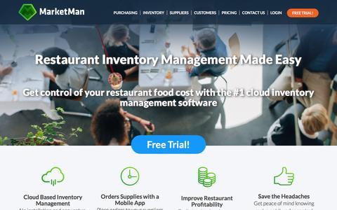 Screenshot of Home Page marketman.biz - Restaurant Inventory Management, Restaurant Management Software - captured Jan. 9, 2016