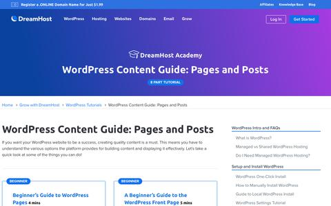 Screenshot of Blog dreamhost.com - WordPress Content Guide: Pages and Posts  – DreamHost - captured Feb. 21, 2020