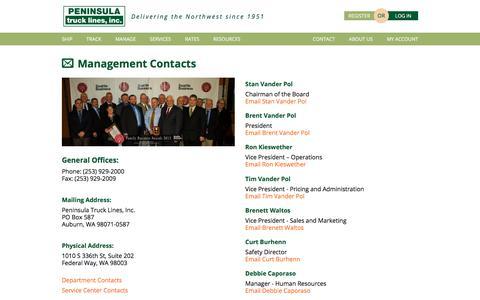 Screenshot of Team Page peninsulatruck.com - Management Contacts - captured July 20, 2017