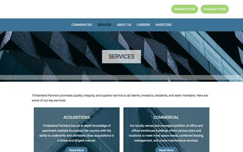 Screenshot of Services Page timberlandpartners.com - Timberland Partners, Inc. | Services - captured Sept. 21, 2018