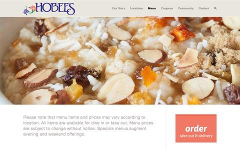Screenshot of Menu Page hobees.com - Menu | Hobee's Restaurants - captured Oct. 22, 2014