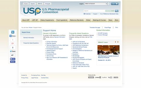 Screenshot of Support Page usp.org - USP Support and FAQs - captured Sept. 23, 2014