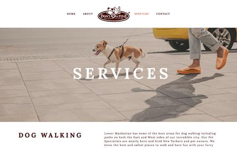 Screenshot of Pricing Page pawsonpine.com - Services — Paws on Pine Dog Walking and Pet Sitting - captured July 16, 2018