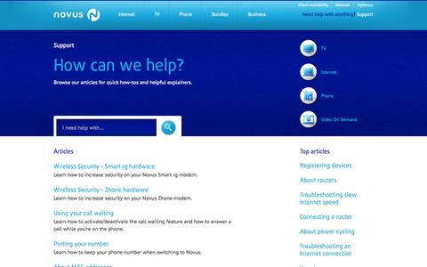 Screenshot of Support Page novusnow.ca - Support | Novus - captured Sept. 19, 2014