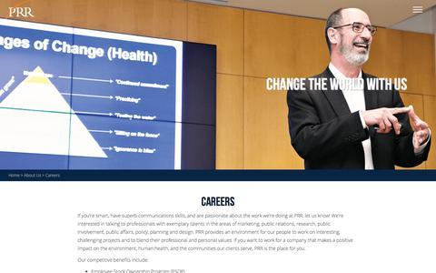 Screenshot of Jobs Page prrbiz.com - Employment & Careers Opportunities | PRR Biz - captured Oct. 12, 2016
