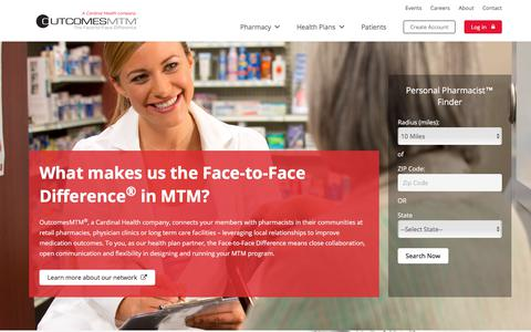 Screenshot of Home Page outcomesmtm.com - OutcomesMTM | The Face-to-Face Difference in MTM - captured Jan. 22, 2018