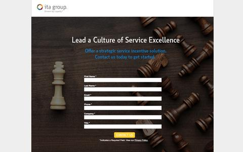 Screenshot of Landing Page itagroup.com - Let's talk about Service Incentives | ITA Group - captured June 1, 2016