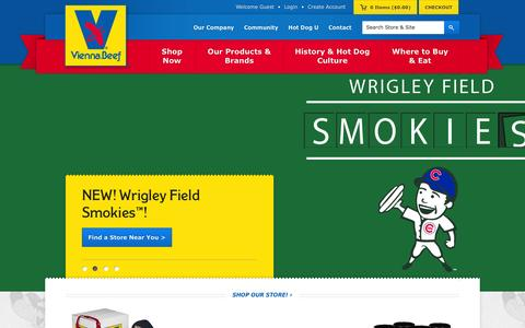 Screenshot of Home Page viennabeef.com - Chicago Style Hot Dogs - Hot Dogs Chicago | Vienna Beef - captured Sept. 19, 2014