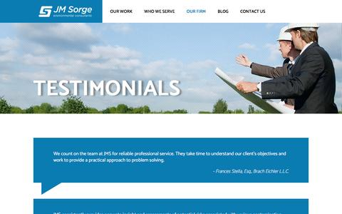 Screenshot of Testimonials Page jmsorge.com - Testimonials - JM Sorge - captured Nov. 18, 2016