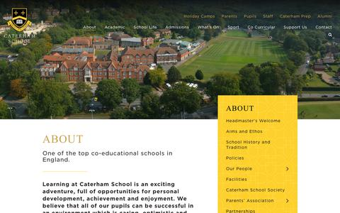 Screenshot of About Page caterhamschool.co.uk - About | Caterham School - captured Oct. 21, 2018