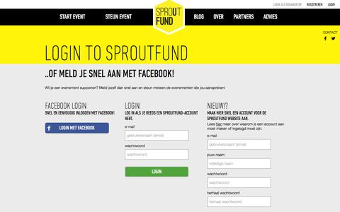 Screenshot of Login Page sproutfund.nl - SproutFund - Steun een event - captured Oct. 6, 2014