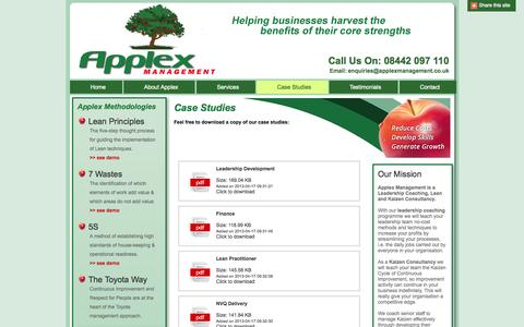 Screenshot of Case Studies Page applexmanagement.co.uk - Case Studies | Applex Management I Staff Development I Lean Principles I Management - captured Oct. 4, 2014