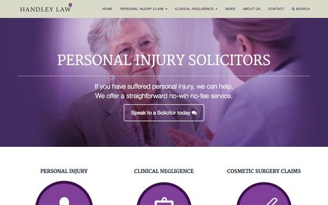 Screenshot of Home Page handleylaw.co.uk - Handley Law Clinical Negligence & Personal Injury Solicitors - captured Sept. 23, 2015