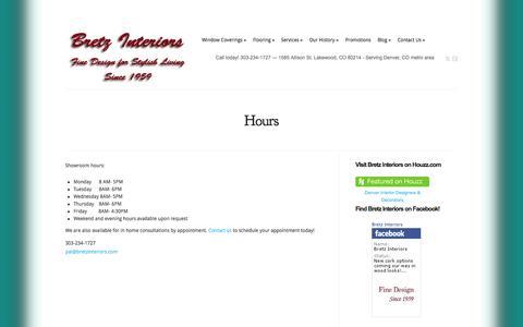 Screenshot of Hours Page bretzinteriors.com - Visit Bretz Interiors - Serving Denver, Lakewood, Golden, Arvada, CO - captured Sept. 30, 2014