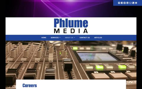 Screenshot of Jobs Page phlume.com - Careers - Phlume Media - captured Sept. 28, 2018