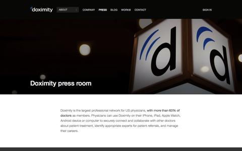 Screenshot of Press Page doximity.com - Doximity in the Press - captured Feb. 20, 2016