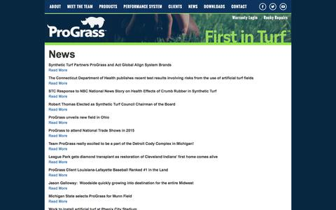 Screenshot of Press Page prograssturf.com - ProGrass News: Artificial turf and synthetic turf system - captured Feb. 1, 2016
