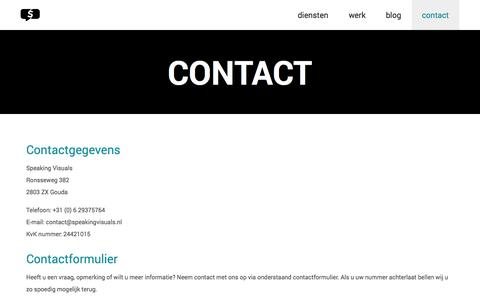 Screenshot of Contact Page speakingvisuals.nl - Contact | Speaking Visuals - captured Oct. 7, 2014