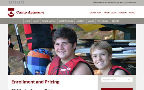 Screenshot of Pricing Page campagawam.org - Enrollment and Pricing - captured March 1, 2018