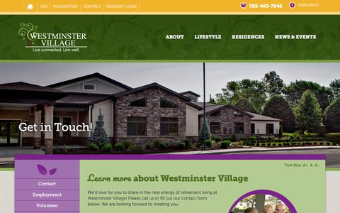 Screenshot of Contact Page wvwl.org - Contact | Westminster Village | West Lafayette, IN - captured July 3, 2018