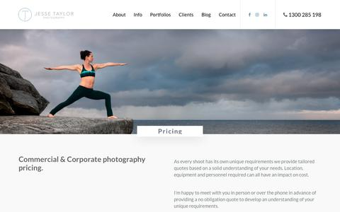Screenshot of Pricing Page jessetaylorphotography.com.au - Corporate and Commercial Photography Pricing by Jesse Taylor - Sydney Photographer - captured Sept. 20, 2018