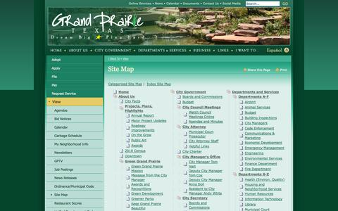 Screenshot of Site Map Page gptx.org - City of Grand Prairie : Site Map - captured Nov. 4, 2014