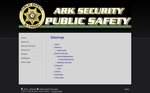 Screenshot of Site Map Page arksecurity.org - ARK Security Services, Inc. - Welcome! - captured Nov. 19, 2016