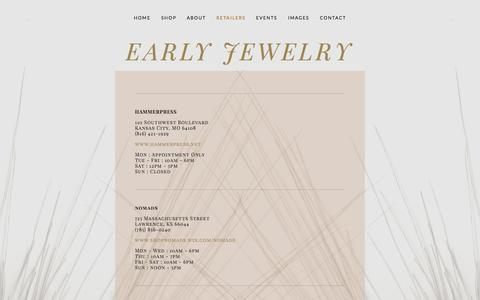 Screenshot of Locations Page earlyjewelry.com - Retailers Ń Early Jewelry - captured Nov. 11, 2015