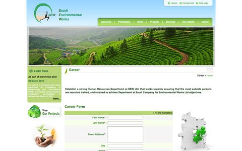 Screenshot of Jobs Page sewltd.com.sa - Welcome To Saudi Environmental Works - captured Oct. 6, 2014