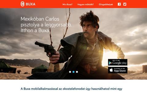 Screenshot of Home Page buxa.eu - Buxa Közösségi Mobilfizetés - Főoldal - captured Jan. 21, 2015